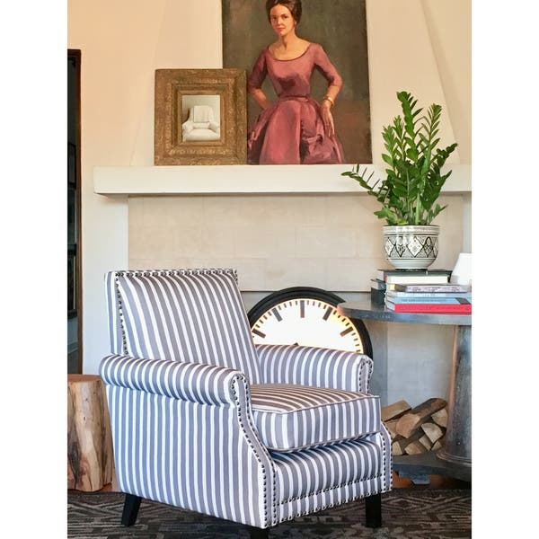Superb Shop Angelo Home Traditional Petrie Grey And White Striped Creativecarmelina Interior Chair Design Creativecarmelinacom
