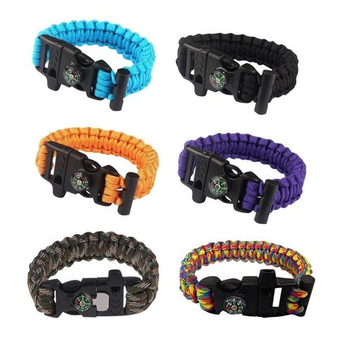 Sport Force Survival Bracelet with Compass/Whistle Buckle-2 Pack