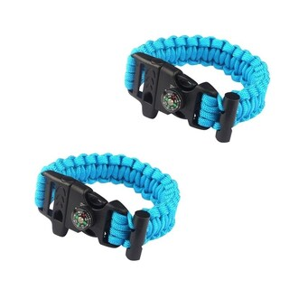 Sport Force Survival Bracelet with Compass/Whistle Buckle-2 Pack (Option: blue 2 pk)