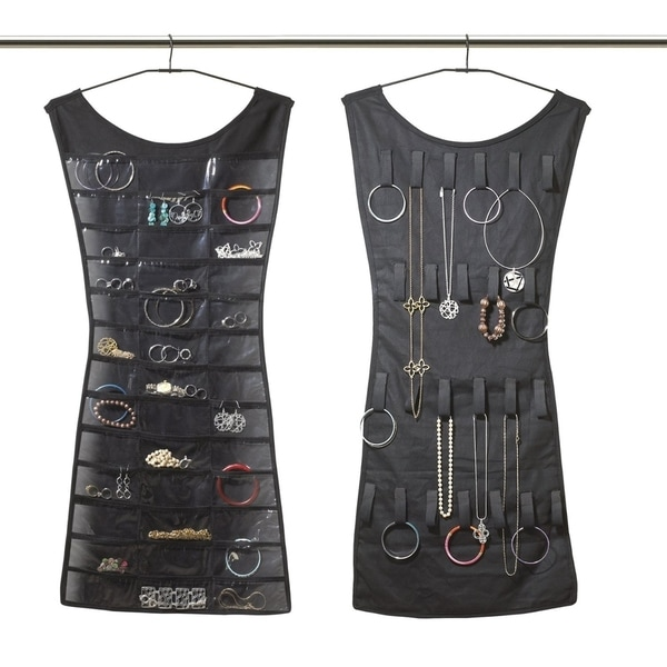 DoubleSided Black Dress Hanging Jewelry Organizer Free Shipping