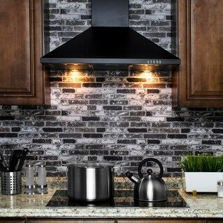 "AKDY RH0252 36"" Convertible Stainless Steel Black Wall Mount Range Hood Halogen Light Lamp"