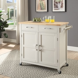 Macie Transitional Two ToneSmall Kitchen Cart