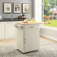 Townville White Wood Small Kitchen Cart