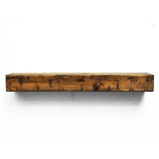 Dogberry Collections Rustic Tan Wood Fireplace Mantel Shelf