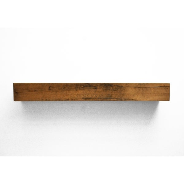 Dogberry Collections Modern Farmhouse Glossy Tan Alder Fireplace Mantel Shelf
