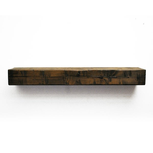 Dogberry Collections Rustic Glossy Alder Wood Wall Mounted Fireplace Mantel Shelf
