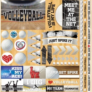 "Volleyball 2 Elements Stickers 12""X12"""