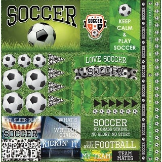 "Soccer 2 Elements Stickers 12""X12"""
