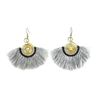 Handmade Flamenco Fringe Earrings - Platinum (Nepal)