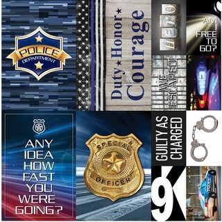 "Police Poster Sticker 12""X12"""
