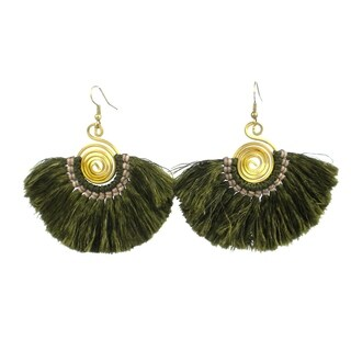 Handmade Flamenco Fringe Earrings - Moss (Nepal)