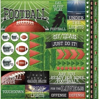 "Football 2 Elements Stickers 12""X12"""