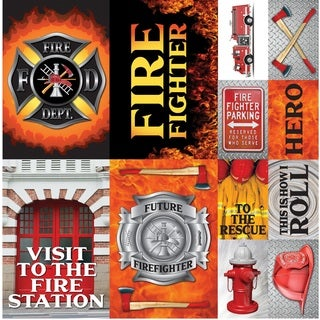 "Firefighter Poster Sticker 12""X12"""