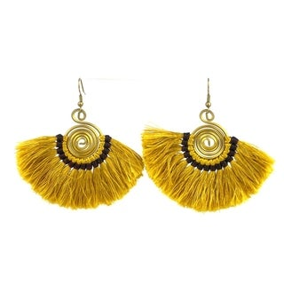 Handmade Flamenco Fringe Earrings - Mustard (Nepal)
