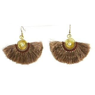 Handmade Flamenco Fringe Earrings - Taupe (Nepal)