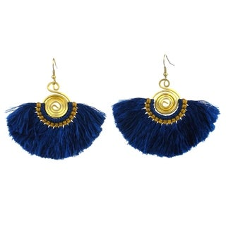 Handmade Flamenco Fringe Earrings - True Blue (Nepal)