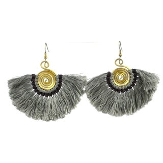 Handmade Flamenco Fringe Earrings - Gunmetal (Nepal)