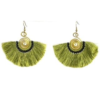 Handmade Flamenco Fringe Earrings - Olive (Nepal)