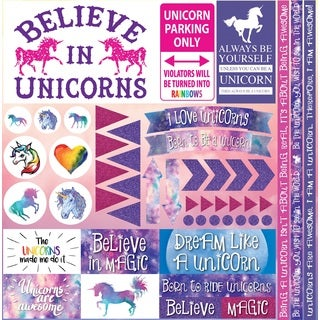 "Unicorn Collection Elements Stickers 12""X12"""