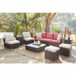 Handy Living Aldrich Brown 8-piece Rattan Indoor/Outdoor Seating Grouping with Orange Floral Cushions