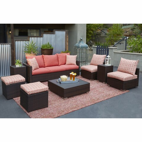 Handy Living Aldrich Brown 8-piece Rattan Indoor/Outdoor Seating Grouping with Terracotta Geometric Cushions
