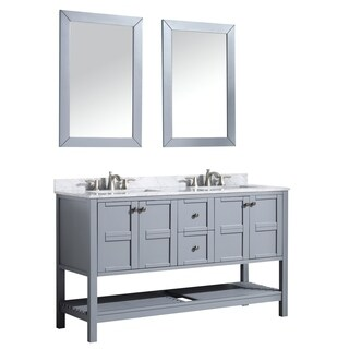 ANZZI Montaigne 60 in. Grey Double Sink Vanity Set