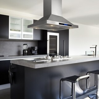 AKDY RH0254 36 in. Kitchen Island Mount Range Hood in Stainless Steel with Remote, Dual Touch Control and Carbon Filter