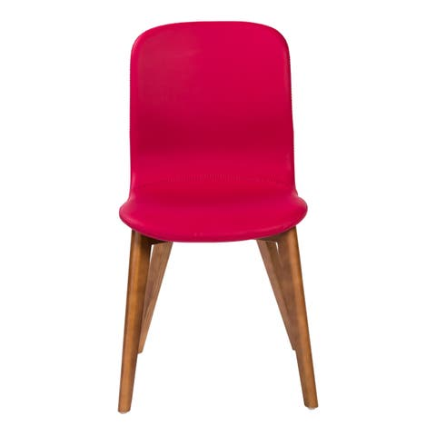 Mai Side Chair in Red Leatherette with Walnut Stained Solid Wood Legs (Set of 2 or 4)