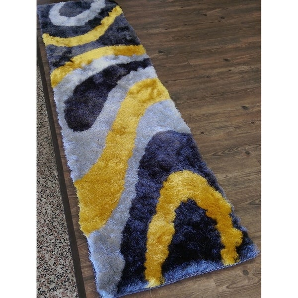 """Hand Tufted Modern Shaggy Indoor Runner Rug In grey with Yellow - 2' x 7'5"""""""