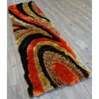 "Hand Tufted Modern Design Shag Rug in Brown with Orange - 2' x 7'5"""