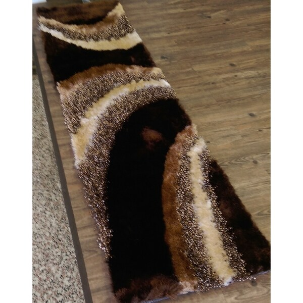 Hand Tufted Modern Design Shaggy Indoor Runner Rug In Color Brown - 2' x 7'5""