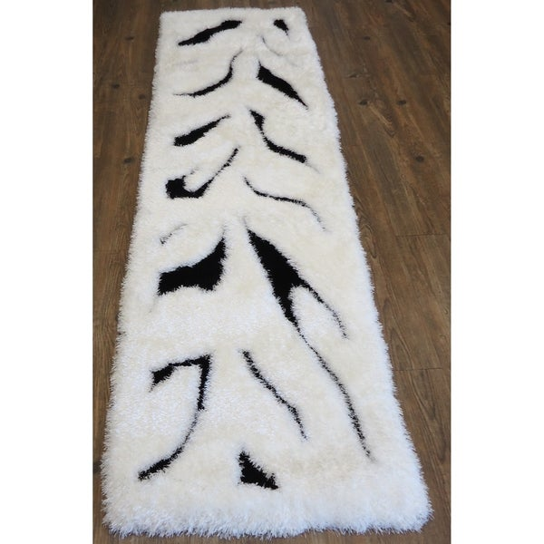 "Hand Tufted Modern Shaggy Indoor Runner Rug In Zebra Print White - 2' x 7'5"""