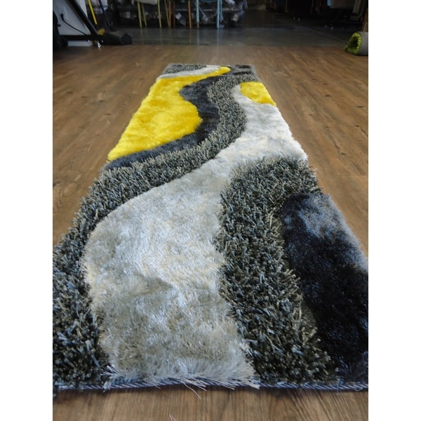 """Hand Tufted Modern Design Shag Rug in Grey with Yellow - 2' x 7'5"""""""