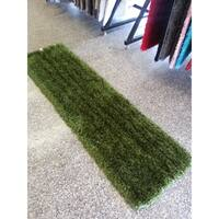 "Solid Hunter Green Handmade Long Pile Shaggy Runner Rug - 2' x 7'5"""