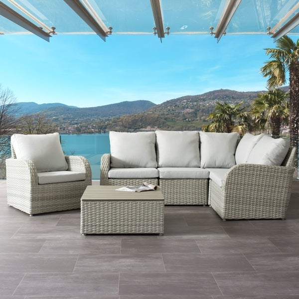 Brisbane Weather Resistant Resin Wicker 6pc Sectional Patio Set