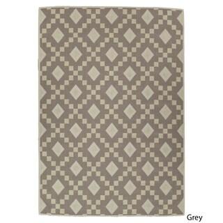 Ottomanson Nature Cotton Kilim Collection Trellis Design Area Rug - 5' x 7'