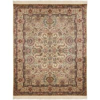 Safavieh Couture Hand-Knotted Royal Kerman Traditional Ivory / Ivory Wool Rug - 12' X 18'