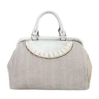 Diophy PU Leather Woven Pattern Pearls and Crystals Décor Large Top Handle Handbag CB-6614 - L (Option: Silver)