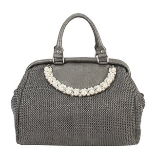 Diophy PU Leather Woven Pattern Pearls and Crystals Décor Large Top Handle Handbag CB-6614 - L