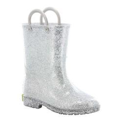 Girls' Western Chief Glitter Rain Boot Silver