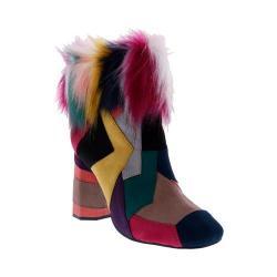 Women's Penny Loves Kenny Khola Patchwork Faux Fur Bootie Black Microsuede/Multi Faux Fur