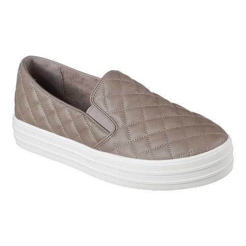 Women's Skechers Double Up Duvet Slip-On Sneaker Dark Taupe
