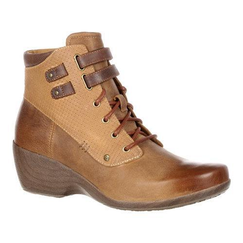 Women's 4EurSole Concerto Wedge Ankle Boot Brown Wheat Le...