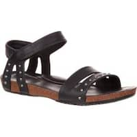 Women's 4EurSole Brightness Flat Sandal Black Leather