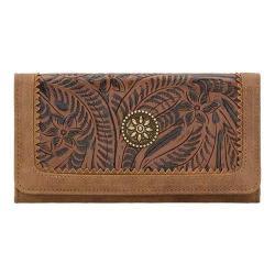 Women's Bandana Guns And Roses Flap Wallet Medium Brown/Chestnut