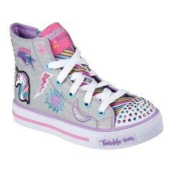 Girls' Skechers Twinkle Toes Shuffles Twist N Turns High Top Gray/Multi