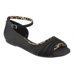 Women's Pleaser Pink Label Anna 03 Ankle-Strap Flat Black Satin