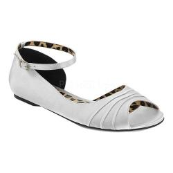 Women's Pleaser Pink Label Anna 03 Ankle-Strap Flat Silver Satin