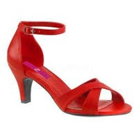 Women's Pleaser Pink Label Divine-435 Ankle Strap Sandal Red Faux Leather