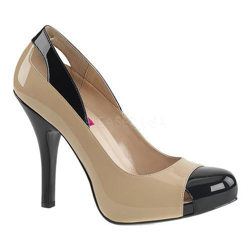 Shop Women s Pleaser Pink Label Eve 07 Cap-Toe Pump Black-Cream Patent -  Free Shipping Today - Overstock.com - 17734151